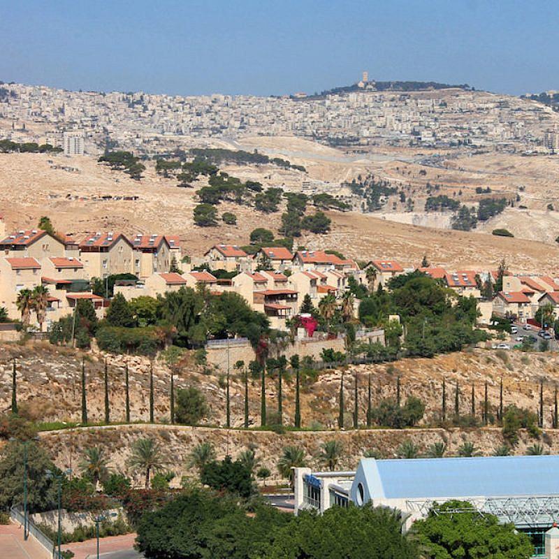 The city of Ma'ale Adumim, located four miles from Jerusalem's municipal boundary. Credit: David Mosberg via Wikimedia Commons.