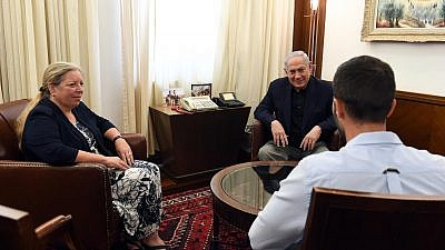 In July 2017, Israeli Prime Minister Benjamin Netanyahu meets in Jerusalem with Ziv Moyal (right), the Israeli embassy security guard who was attacked before shooting his assailant and a bystander in Amman, and Israel's Ambassador to Jordan Einat Schlein. Credit: Haim Zach/GPO.