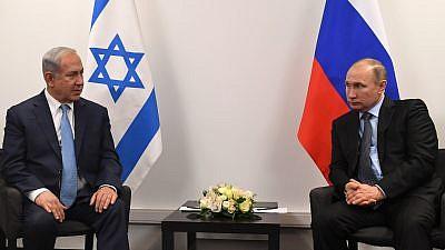 Israeli Prime Minister Benjamin Netanyahu (left) and Russian President Vladimir Putin meet in Moscow in late January. Credit: Kobi Gideon/GPO.