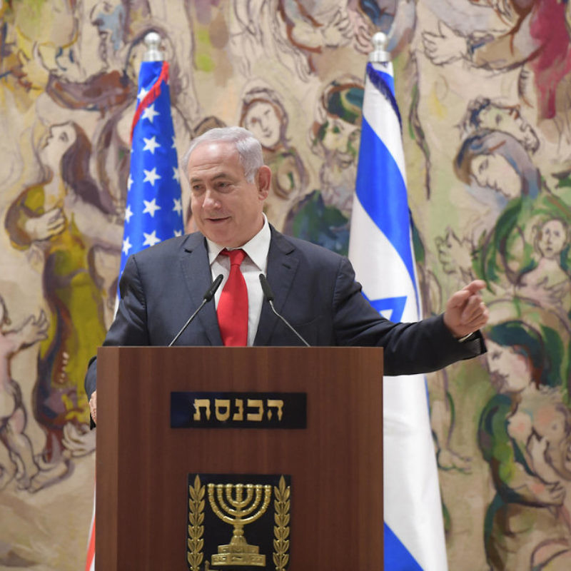 Last June, Prime Minister Benjamin Netanyahu addresses a joint Knesset-Congress event for the 50th anniversary of Jerusalem's reunification. Credit: Amos Ben-Gershom/GPO.