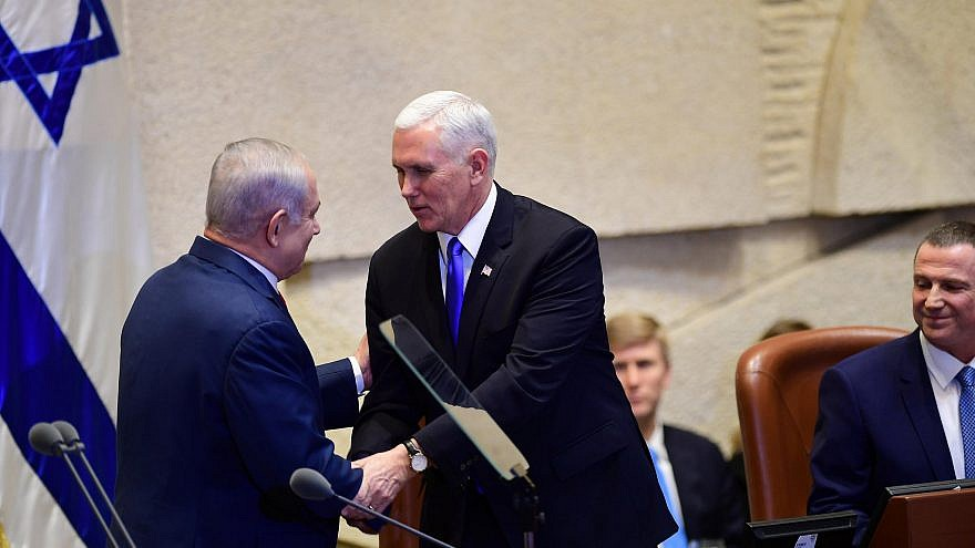 Vice President Mike Pence shakes hands with Prime Minister Benjamin Netanyahu at the Knesset on Monday. Credit: Prime Minister Benjamin Netanyahu official Twitter page.