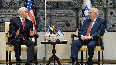 U.S. Vice President Mike Pence (left) and Israeli President Reuven Rivlin meet on Tuesday. Credit: Mark Neiman/GPO.