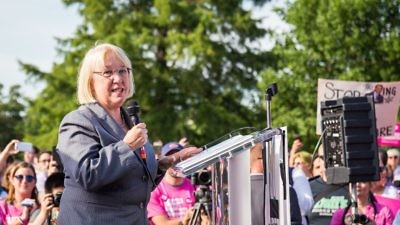 "U.S. Sen. Patty Murray (D-Wash.) speaks at a rally outside the U.S. Capitol on June 28, 2017. A senior policy adviser for Murray allegedly said, ""We don't care about anti-Semitism in this office,"" JNS reports. Credit: Mobilus In Mobili via Wikimedia Commons."