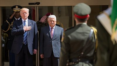 U.S. President Donald Trump participates in arrival ceremonies with Palestinian Authority leader Mahmoud Abbas at the presidential palace in Bethlehem on May 23, 2017. Credit: White House/Shealah Craighead.