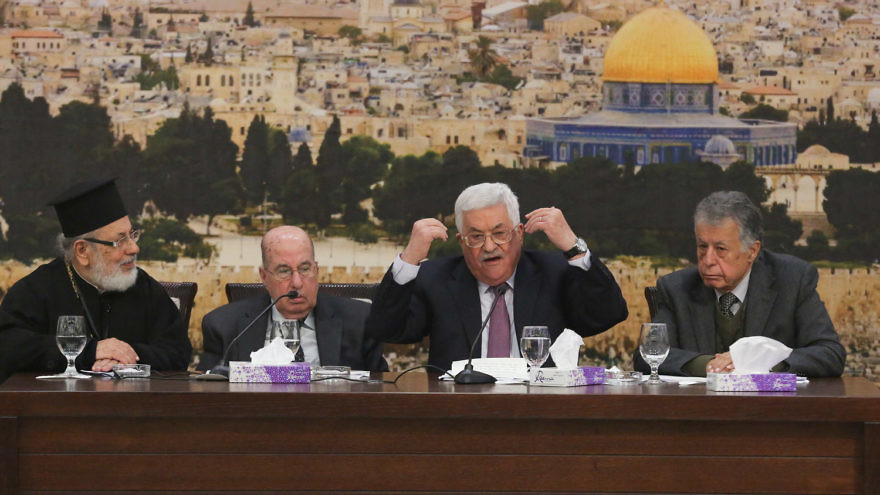 Palestinian Authority leader Mahmoud Abbas speaks during a meeting with members of the Fatah Central Committee in Ramallah on Jan. 14, 2018. Photo by Flash90.