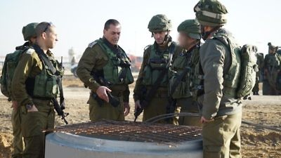 Israel Defense Force officers visit the site where a terror tunnel was exposed at Israel's Kerem Shalom border crossing with Gaza. Credit: IDF Spokesperson's Unit.