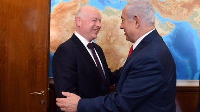 President Donald Trump's international negotiations representative and special envoy to the Middle East Jason Greenblatt (left) in January 2018 with Israeli Prime Minister Benjamin Netanyahu. Credit: Twitter.