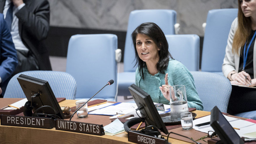 U.S. Ambassador to the United Nations Nikki Haley addresses a U.N. Security Council meeting. Credit: U.N. Photo/Rick Bajornas.