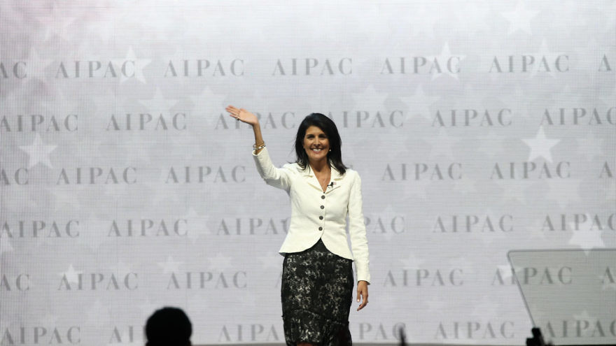 U.S. Ambassador to the U.N. Nikki Haley on stage at the AIPAC conference in March. Credit: AIPAC.