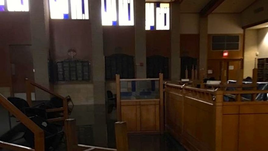 Flood damage from Hurricane Harvey at United Orthodox Synagogues of Houston. Credit: Robert Levy via Facebook.