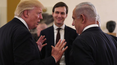 Prime Minister Benjamin Netanyahu (right) and President Donald Trump (left) with White House adviser Jared Kushner (center) at the start of a meeting in Jerusalem on May 22, 2017. Credit: Kobi Gideon/GPO.