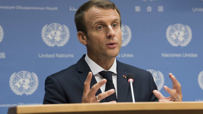 French President Emmanuel Macron addresses a United Nations press conference on Sept. 19, 2017. Credit: U.N. Photo/Kim Haughton.