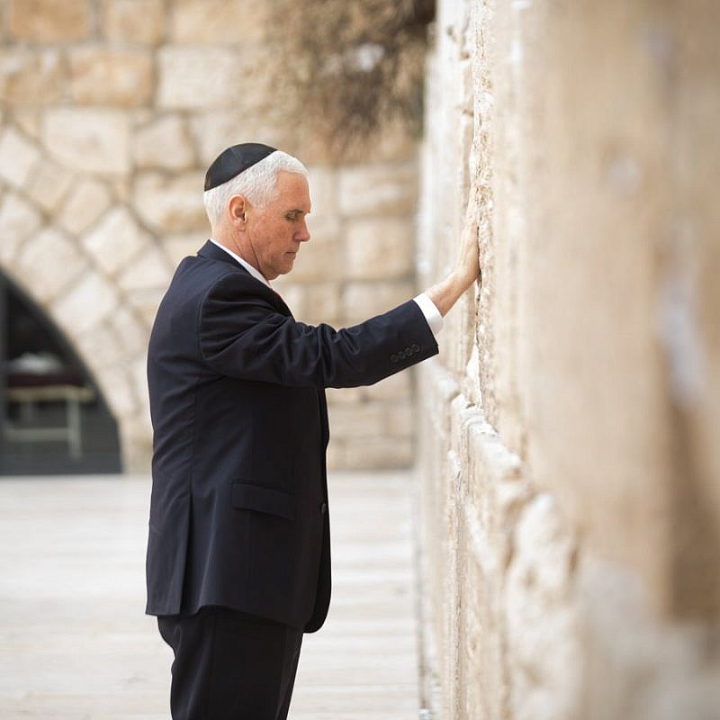 Vice President Mike Pence visits the Western Wall on Tuesday. Credit: Vice President Mike Pence official Twitter page.