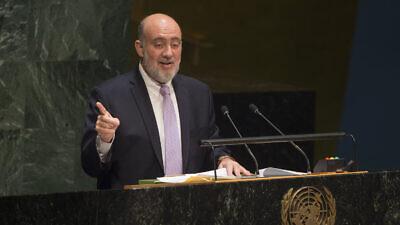 Ron Prosor (pictured), Israel's former ambassador to the United Nations, addresses the U.N. General Assembly in January 2015. Credit: U.N. Photo/Eskinder Debebe.