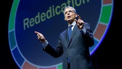 Union for Reform Judaism (URJ) President Rabbi Rick Jacobs speaks at the organization's biennial convention in Boston in December 2017. Credit: URJ via Facebook.