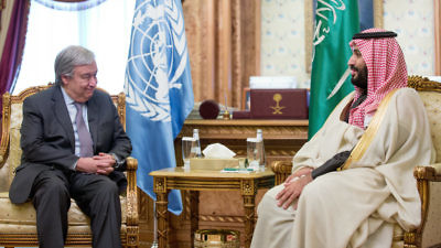 United Nations Secretary-General António Guterres (left) meets with Crown Prince of Saudi Arabia Mohammed bin Salman in Riyadh on Feb. 12, 2018. Credit: U.N./Mohammed Al Deghaishim.