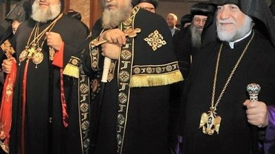 Egyptian Coptic Christian leaders, including Pope Tawadros II (center). Credit: Wikimedia Commons.