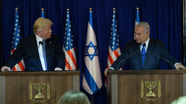President Donald Trump and Prime Minister Benjamin Netanyahu make a joint appearance in Jerusalem on May 22, 2017. Credit: Haim Zach/GPO.