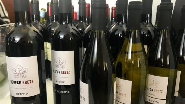 Bottles from the Derech Eretz winery at the Sommelier 2018 exhibition in Tel Aviv. Credit: Eliana Rudee.