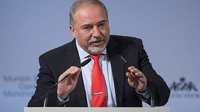 Israeli Defense Minister Avigdor Lieberman at the Munich Security Conference in 2017. Credit: Wikimedia Commons