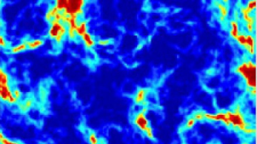 Pattern of radio waves on the sky caused by the combination of radiation from the first stars and the effect of dark matter. Blue regions are those where the dark matter cooled down the ordinary matter most strongly. Credit: Professor Rennan Barkana.
