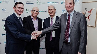 (From right to left) British Ambassador to Israel David Quarrey, David Dangoor, the Exilarch's Foundation, IBM Israel's CTO Uri Hayik and UCL Partners Managing Director Charlie Davie at the UK-Israel Dangoor Health Initiative launch event. Credit: Ben Kelmer.