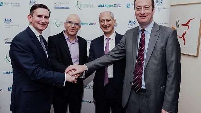 (From right to left) British Ambassador to Israel David Quarrey, David Dangoor, the Exilarch's Foundation, IBM Israel's CTO Uri Hayik and UCL Partners Managing Director Charlie Davie at the UK-Israel Dangoor Health Initiative launch event. Credit: Ben Kelmer.