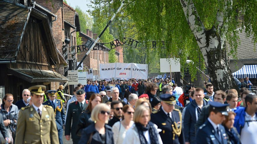 March of the Living program at the Auschwitz-Birkenau concentration camp in Poland, on Holocaust Memorial Day, May 5, 2016. Photo by Yossi Zeliger/FLASH90