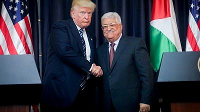 U.S. president Donald Trump and Palestinian Authority leader Mahmoud Abbas attend a joint press conference in the West Bank city of Bethlehem on May 23, 2017. Credit: Flash90.