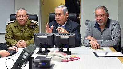 Prime Minister Benjamin, Defense Minister Avigdor Liberman, and IDF Chief of Staff Gadi Eizenkott, attend a security council meeting at IDF Headquarters, following the crash of an F-16 plane on February 10, 2018. Photo by Ariel Hermony/Ministry of Defense