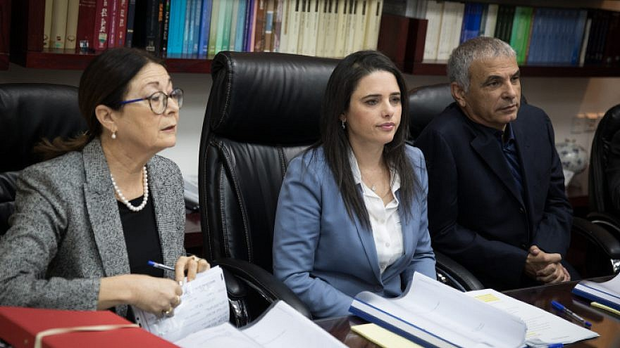 From left: Israeli Supreme Court president Esther Hayut, Israeli Minister of Justice Ayelet Shaked and Israeli Finance Minister Moshe Kahlon at a meeting of the Israeli Judicial Selection Committee on Feb. 22, 2018. Photo by Hadas Parush/Flash 90.