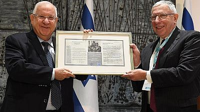 President Reuven Rivlin with JDC President Stanley Rabin.  Credit: GPO/Mark Neiman.