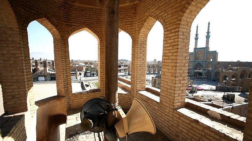 Loudspeaker in Amir Chakhmaq Mosque.  Photo by Wikimedia Commons.