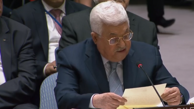 Palestinian Authority President Mahmoud Abbas speaking to the United Nations Security Council on Tuesday. Credit: Screenshot.