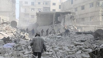 Destruction in eastern Ghouta, Syria. Credit: Facebook via Syrian Observatory for Human Rights.