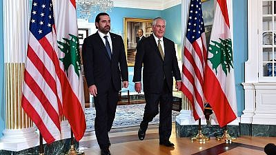 Lebanese Prime Minister Saad Hariri walking with U.S. Secretary of State Rex Tillerson during a bilateral meeting in July 2017 in Washington, D.C. Credit:  State Department.