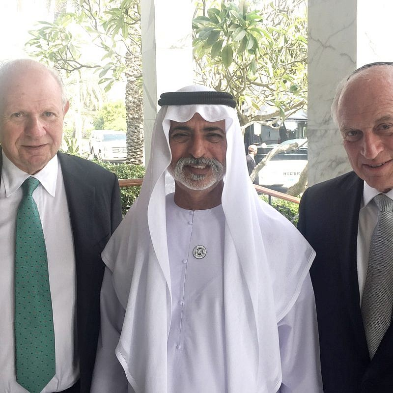Conference of Presidents of Major American Jewish Organizations Chairman Stephen Greenberg (L) and Executive Vice President Malcolm Hoenlein (R) meeting with United Arab Emirates Minister of State for Tolerance Sheikh Nahyan bin Mubarak al Nahyan, on February 14, 2018. Photo courtesy of COPMAJO.