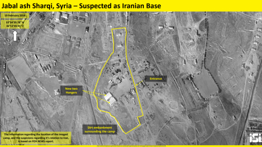 Satellite photos of a purported Iranian base outside of Damascusa. Credit: ImageSat International
