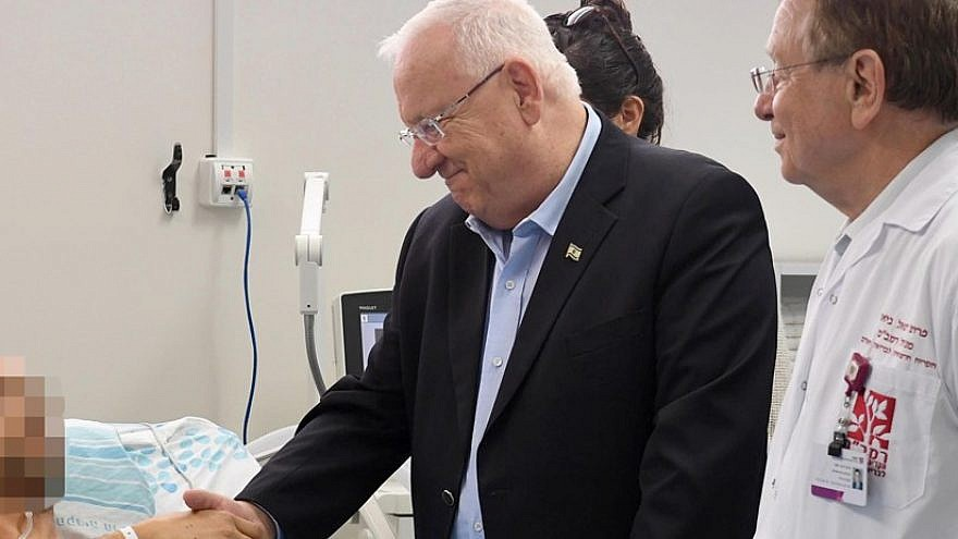 The pilot visited by Israeli President Reuven Rivlin, accompanied by Dr. Rafael Beyar, director of the Rambam Health Care Campus (Photo: Marc Neiman/GPO)