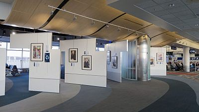 The Transfer of Memory portrait display at the Minneapolis-Saint Paul International Airport. Credit: David Sherman/Transfer of Memory.