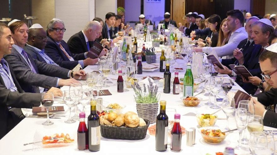 The Israel Project and the World Jewish Congress host a pre-Passover seder for foreign diplomats in Israel.  (Photo by Avishai Zigman)
