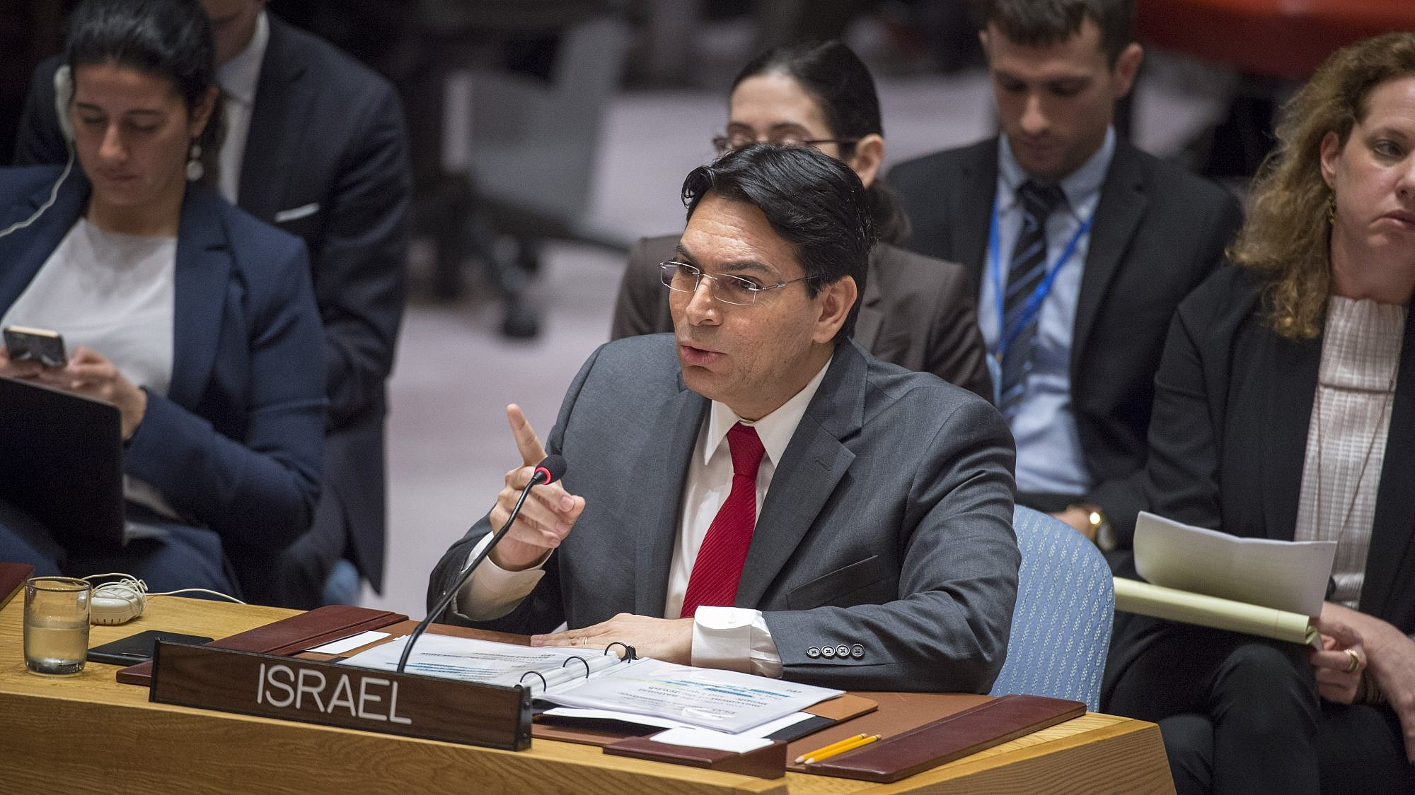 Israeli Ambassador to the United Nations Danny Danon addresses the U.N. Security Council meeting on the situation in the Mideast. Credit: U.N. Photo/Loey Felipe.