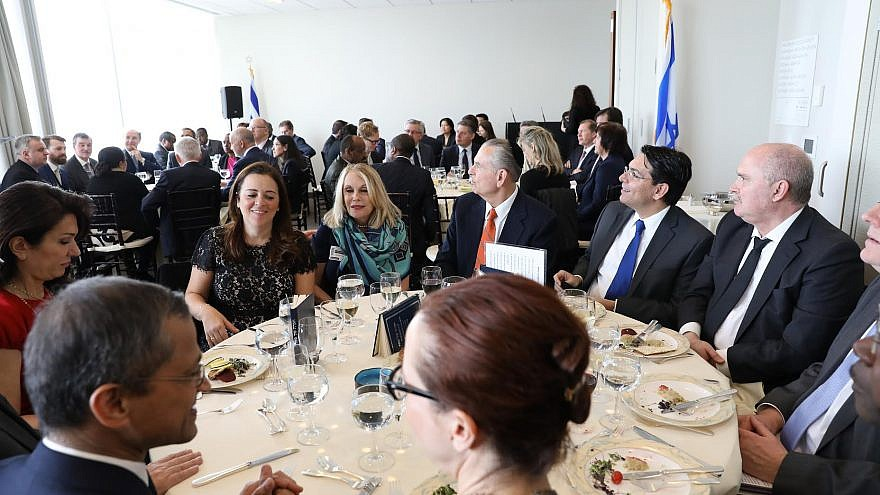 Ambassador Danny Danon with fellow diplomats participate in pre-Passover Seder held at the United Nations. Credit: Shahar Azran.