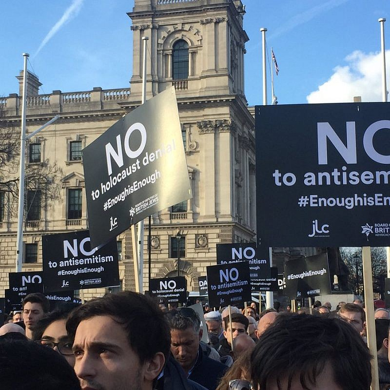 Thousands gather outside of Parliament in London to protest anti-Semitism in the British Labour Party, Sept. 3, 2018. Credit: Labour Against Anti-Semitism via Twitter.