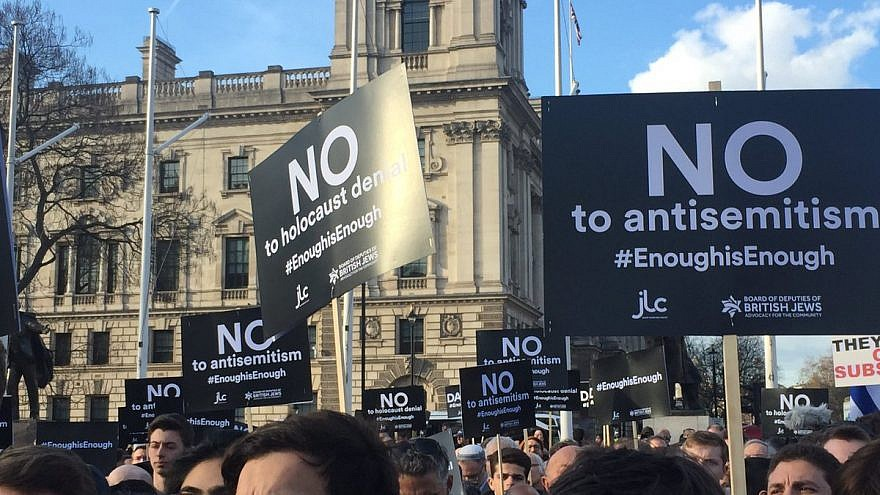 Thousands gather outside of Parliament in London to protest anti-Semitism in the British Labour Party on Sept. 3, 2018. Credit: Labour Against Anti-Semitism via Twitter.