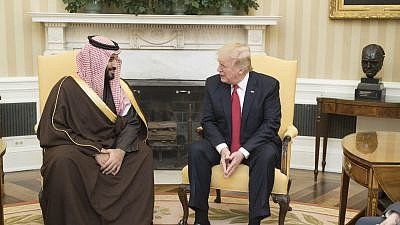 U.S. President Donald Trump speaks with Crown Prince of Saudi Arabia Mohammad bin Salman during their meeting at the White House on March 14, 2017. Credit: Official White House Photo by Shealah Craighead.