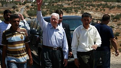 Former U.S. President Jimmy Carter during a visit with the organization Elders at a checkpoint near the West Bank village of Bilin near Ramallah on Aug. 27, 2009. .Credit: Mohamar Awad/Flash90.