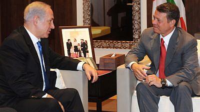 File photo: Israel's Prime Minister Benjamin Netanyahu meets with Jordanian King Abdullah II in Amman on July 27, 2010. Photo by Avi Ohayon/GPO/FLASH90