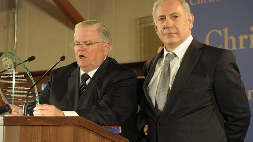 Pastor John Hagee (left) speaks next to Israeli Prime Minister Benjamin Netanyahu during a mission of approximately 800 members of Christians United for Israel in Jerusalem, March 18, 2012. Photo by Amos Ben Gershom/Flash90