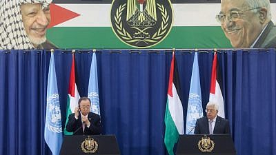 Palestinian Authority leader Mahmoud Abbas speaks during a joint press conference with U.N. Secretary General Ban Ki-Moon in Ramallah on Oct. 21, 2015.  Photo by Flash90